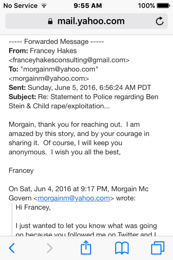 Francey Hakes Ben Stein email June 5 2016 copy