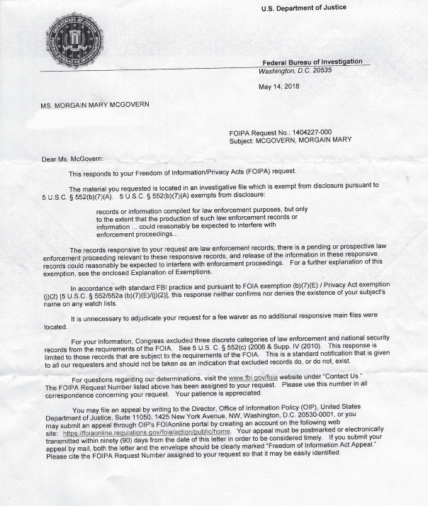 FBI FOIA letter WEB COPY Morgain Mcgovern Investigation