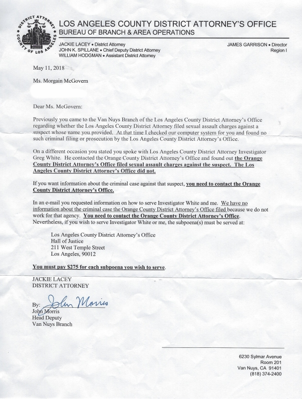 LA DA Office WEB COPY EDit Letter John Morris OCDA filed sexual assault charges