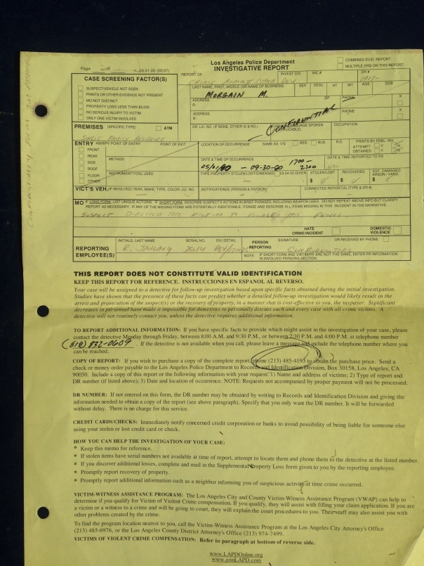 LAPD 1 Devonshire 2009 Yellow Police Report Crime Against Child copy