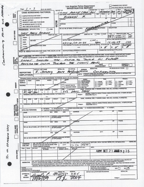 Page 1 lapd 2009 police report Devonshire:Northridge copy