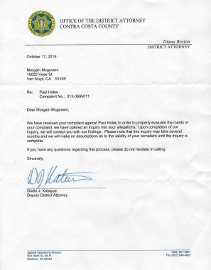 Paul Holes Contra Costa District Attorney investigation letter