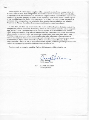 Xaiver Becerra letter page 2 Attorney General