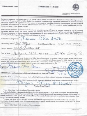 Maureen Alice Smith McGovern Signed FOIA documents for Countess book 2012 12