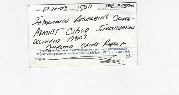 Detective January Police back card 09 30 2009 birch and steve child rape lapd devonshire September 2009 crime against child interview crime report