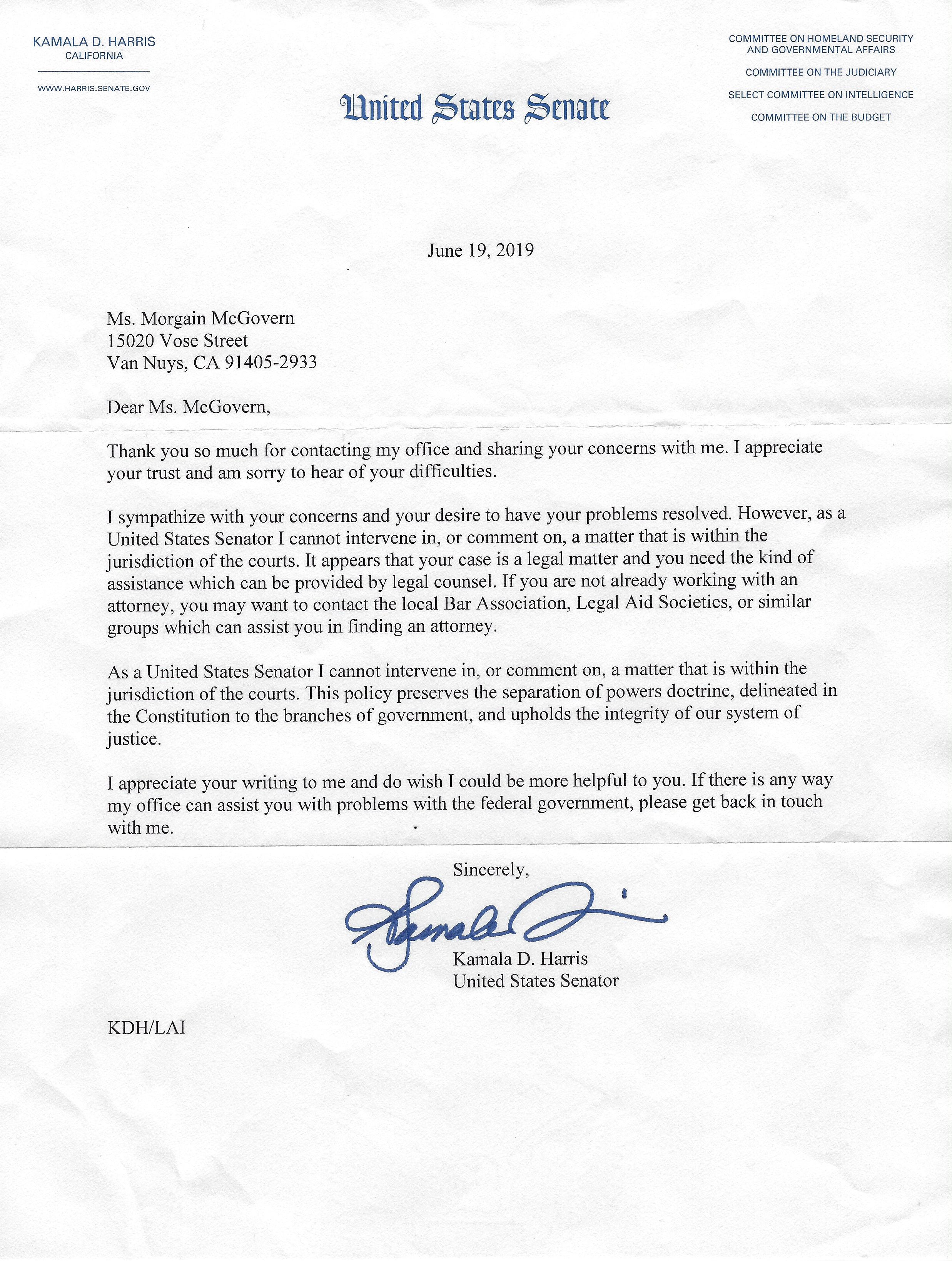 Kamala Harris letter June 19 2019 Golden State Killer