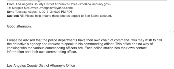 LA DA District Attorney email part 3 chain of command ben stein email