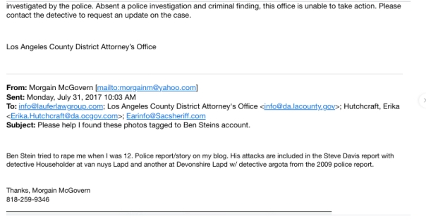 LA District Attorney email Ben Stein tried to rape me when I was 12
