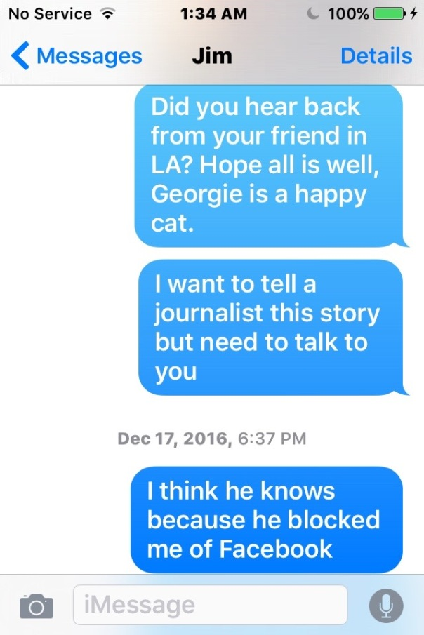 Jim Rainbow texts want to talk to a journalist - 1
