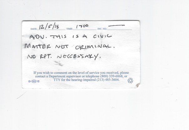 LAPD Back of business card Dec 12 2018 products jim clemente civil