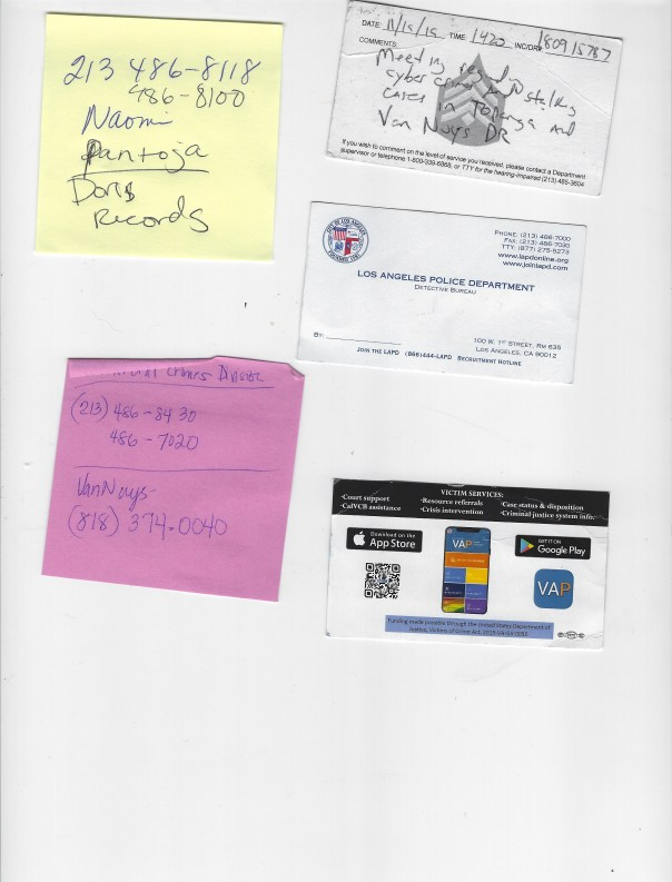 LAPD Business card back SCAN evidence LAPD HQ Downtown Grace Naomi Pantoja Detective Boylls Ifunanya Cyber Crimes business card Detective Hopkins Serial number 34096 1 copy