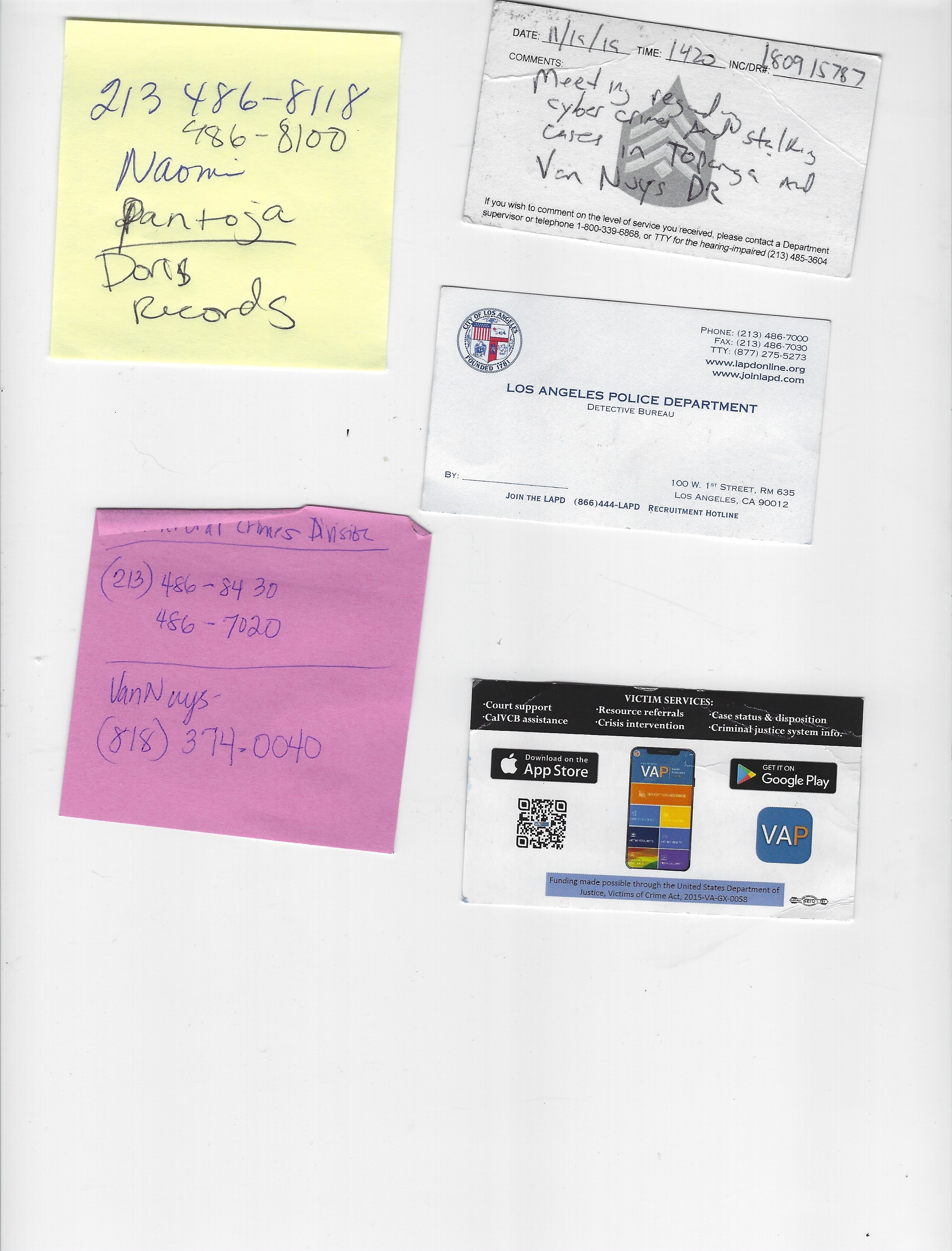 LAPD Downtown business cards phone numbers Terry Rasmussen update new info ordered new full crime reports with supplements copy 2