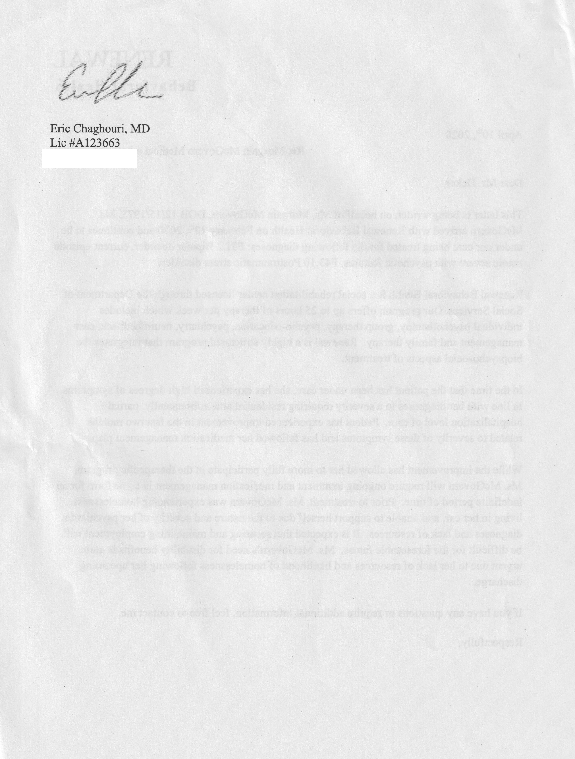 WEB Copy Chagouri page 2 Renewal mental health letter April 10 2020 Dr Chagouri page 2 Eric Chagouri signature copy